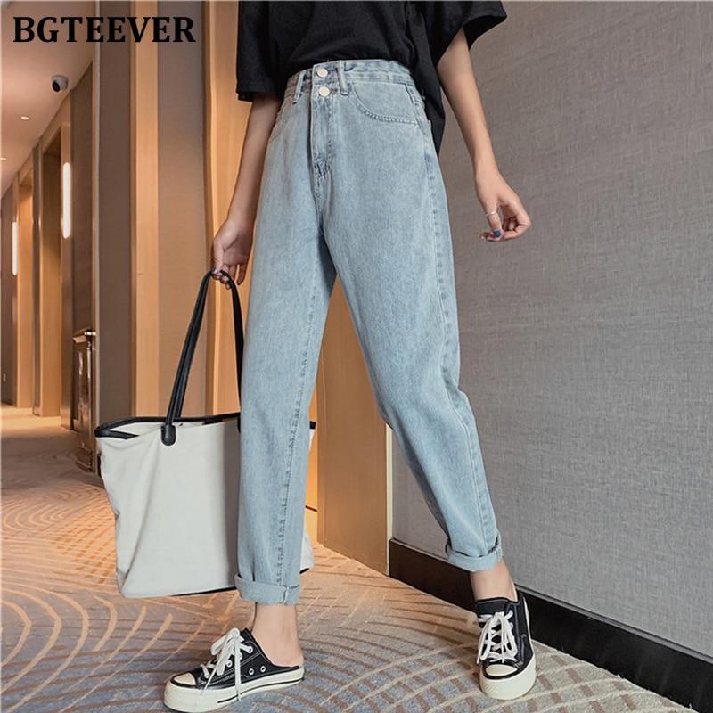BGTEEVER Chic Straight Double Button Women Jeans High Waist Denim Pants 2020 Spring Summer Jeans Trousers Female Streetwear
