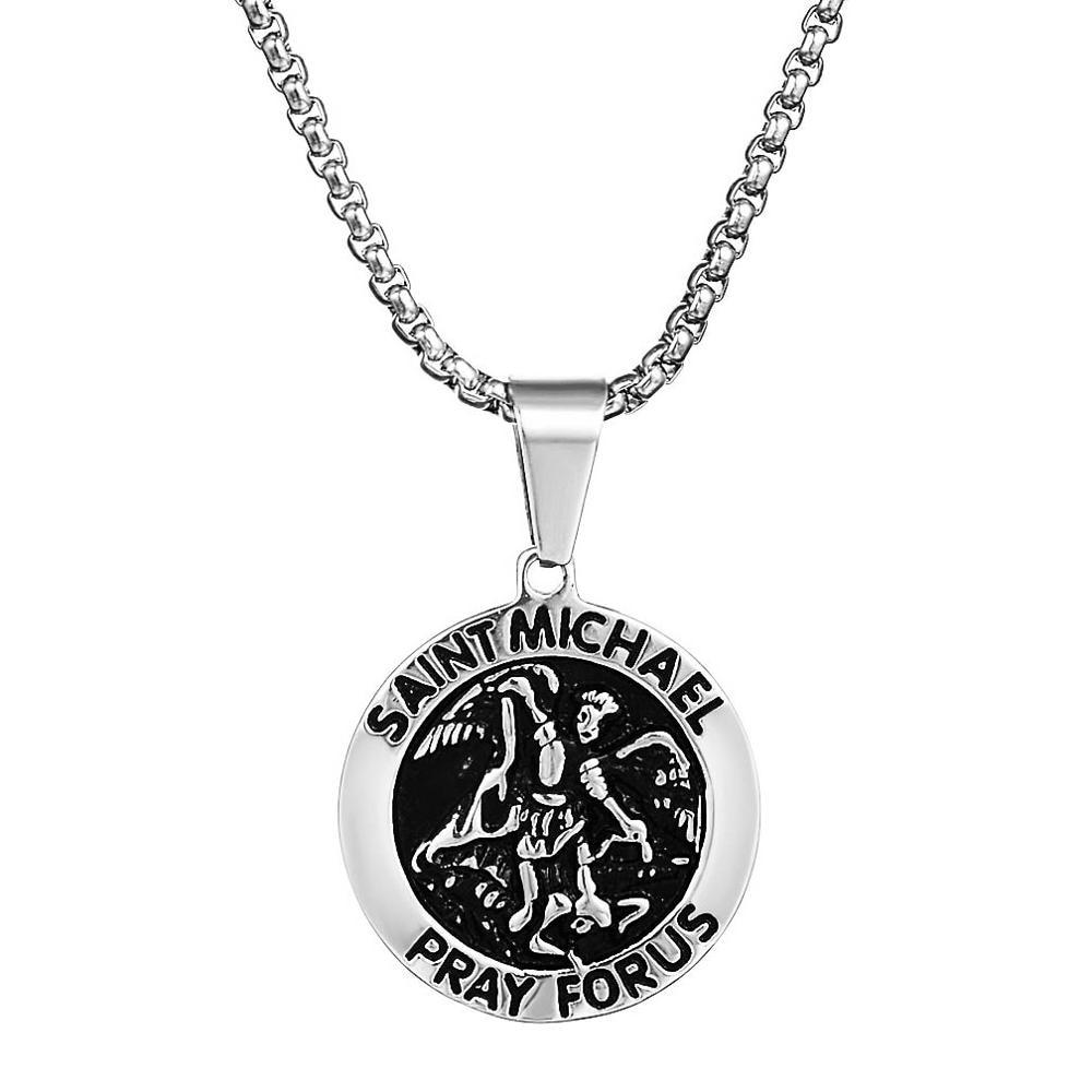 "Collar de medallón de San Michael plateado para hombre, collar de acero inoxidable, Arcángel de oro sólido, collar con colgante de Michael, joyería, cadena de 24"""