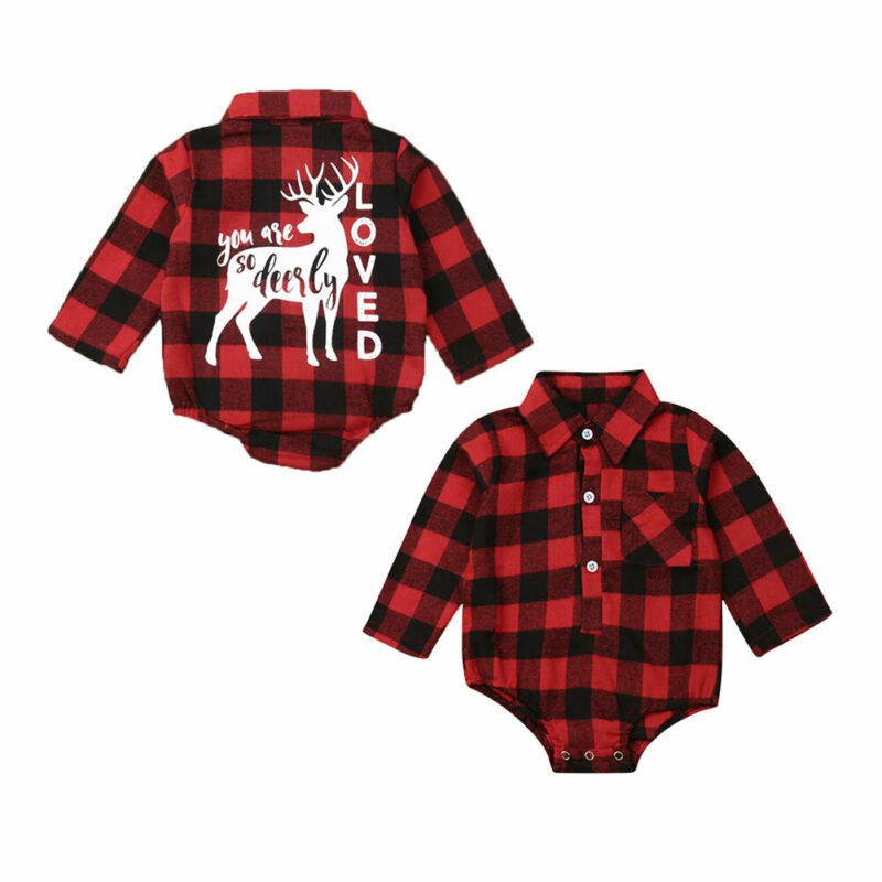 Nueva Navidad recién nacido bebé niña niños Navidad mameluco mono manga larga camisa a cuadros camisa ropa niña niño regalos