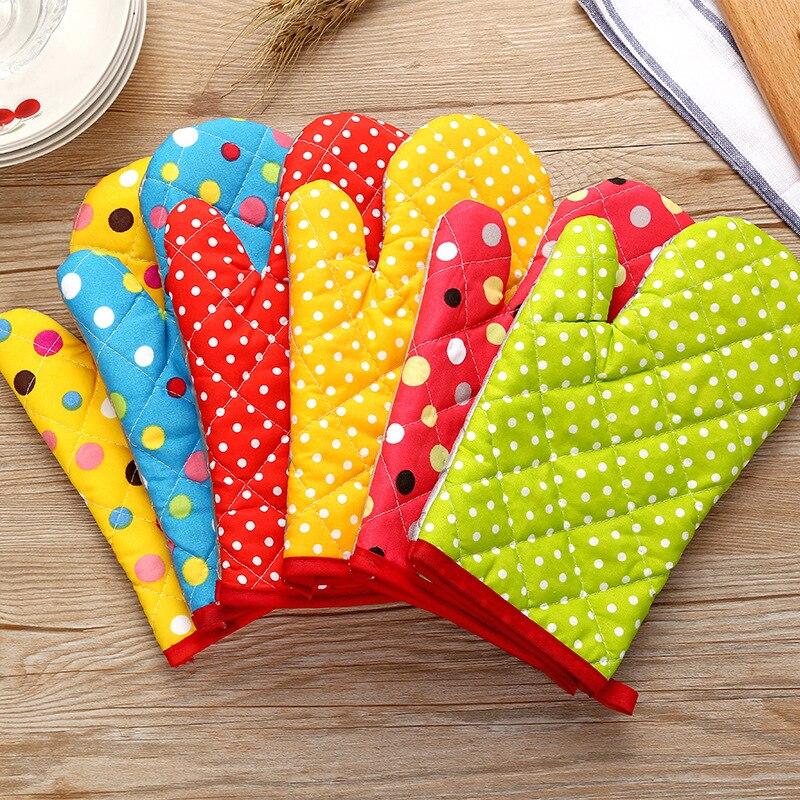 Перчатки для микроволновки, хлопковые термостойкие митенки с изоляцией для выпечки, милые кухонные прихватки, терилен, Нескользящие, 1 шт.