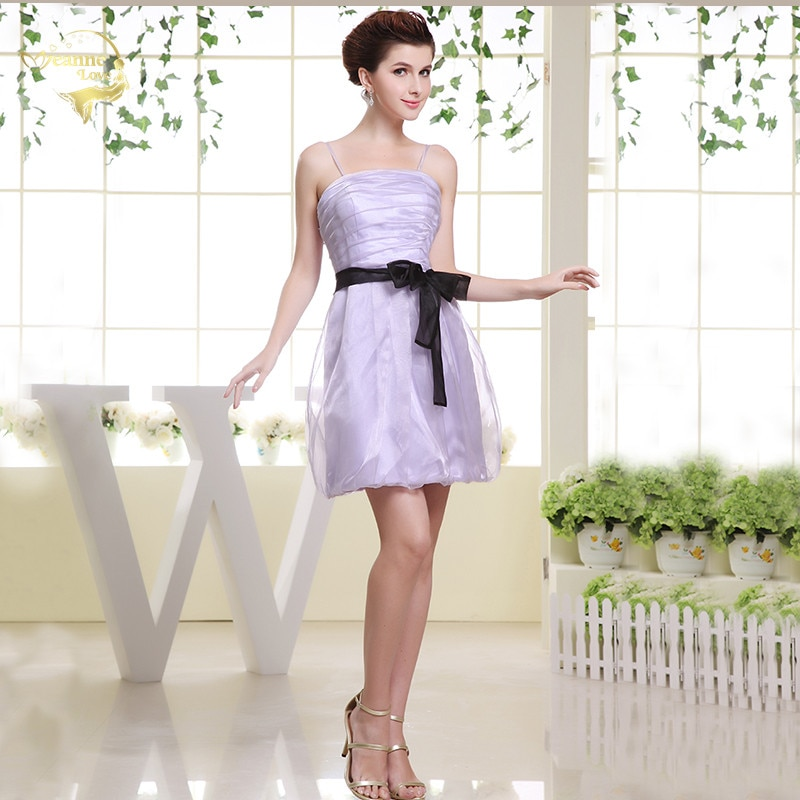 maid of honor dresses for weddings bridesmaid party dresses for women long prom dress graduation dresses back of bandage a line Lavender Purple Short Bridesmaid Dresses For Women Mini Black Belt Party Prom Gowns Spaghetti Maid of Honor Dress vestido coctel