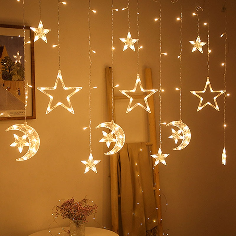 Christmas lights led 3.5m Curtain light garland star moon decor for home 220V Fairy Lights Outdoor/Indoor Festival String Light