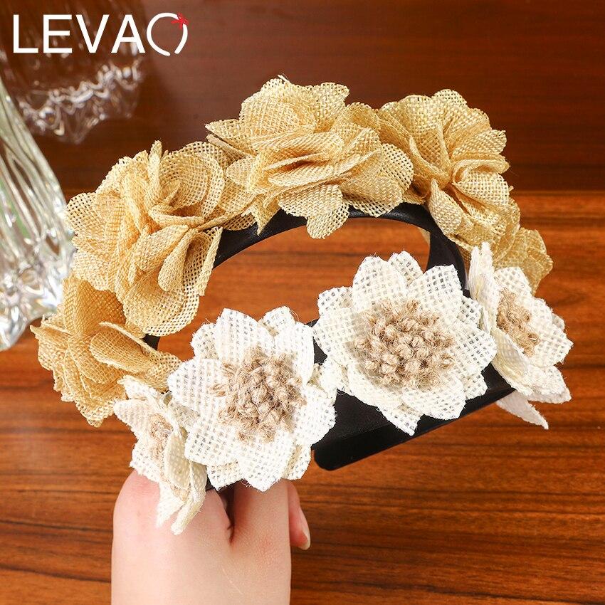 Levao handmade flor cabeça bezel hairpins para as mulheres boho coroa floral hairband hoop cabelo com clipe acessórios para o cabelo