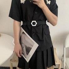 Non-Hole Canvas Women's Korean Style Stylish Simple and Versatile Jeans Belt with Dress Coat Waist S