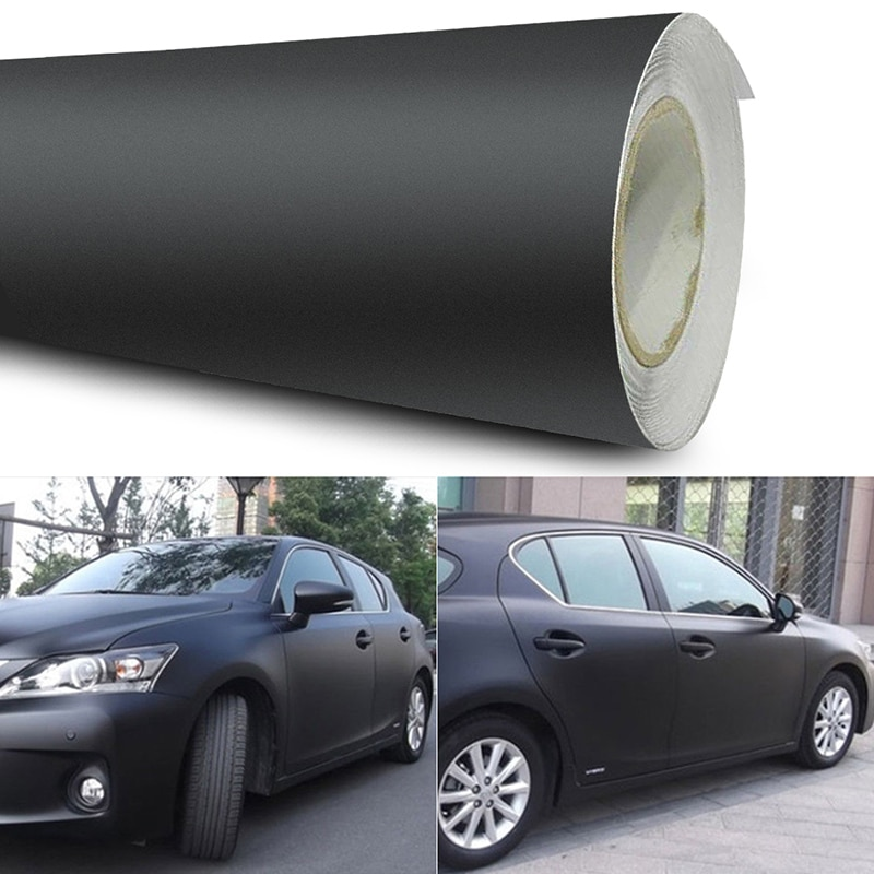 Универсальная матовая Черная Виниловая пленка 12x60 дюймов, самодельная наклейка для автомобиля, наклейка для автомобиля, 3D наклейка для авто...