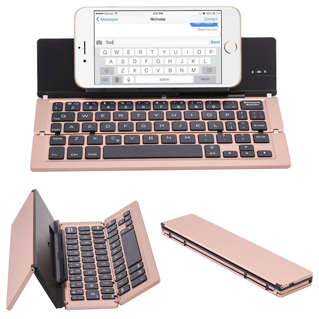 A0538-1 portátil mini teclado dobrável, traval bluetooth teclado sem fio dobrável para iphone, telefone android, tablet, ipad, pc