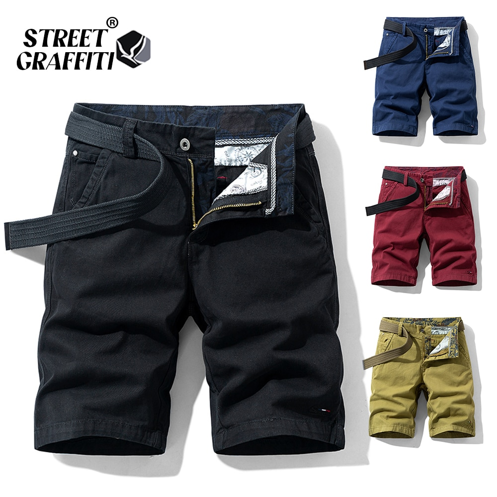 2021 New Spring Men Cotton Solid Men's Shorts Clothing Summer Casual Breeches Bermuda Fashion Jeans For Beach Pants Men Short