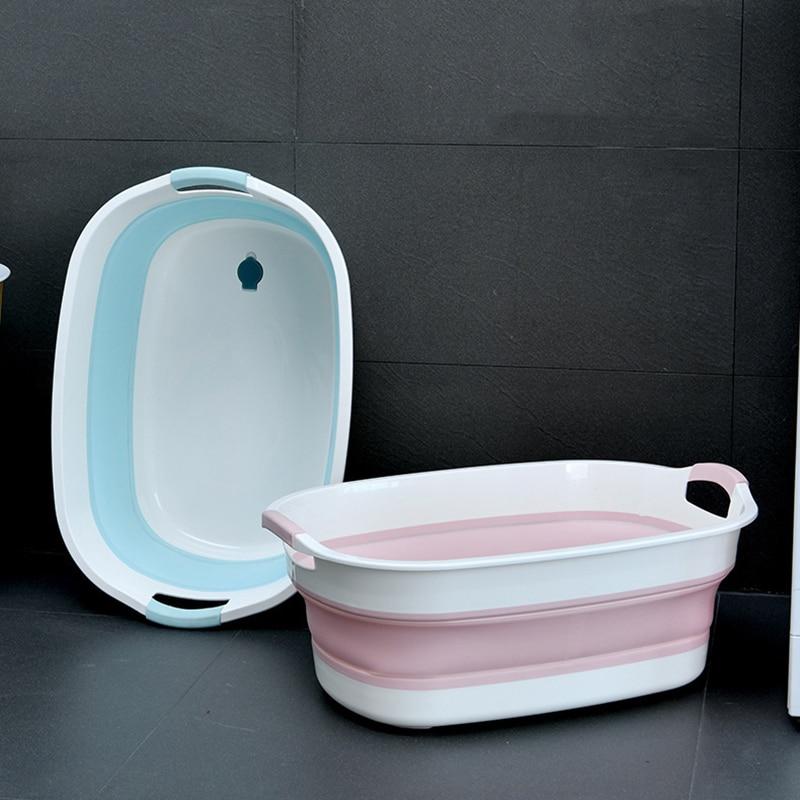 Folding Bathtub Baby Shower Foldable Bath Tub Newborn Baby Accessories Large-Capacity 0-6 Years Children Bathroom Laundry Basket