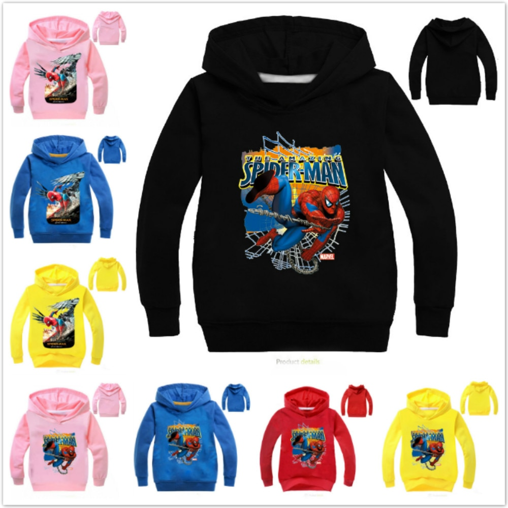SpiderMan Cotton Jacket Children Clothing Hooded Casual Spring Autumn Tops Boys Sweatshirt Cartoon Girl Kids Long Sleeve T Shirt