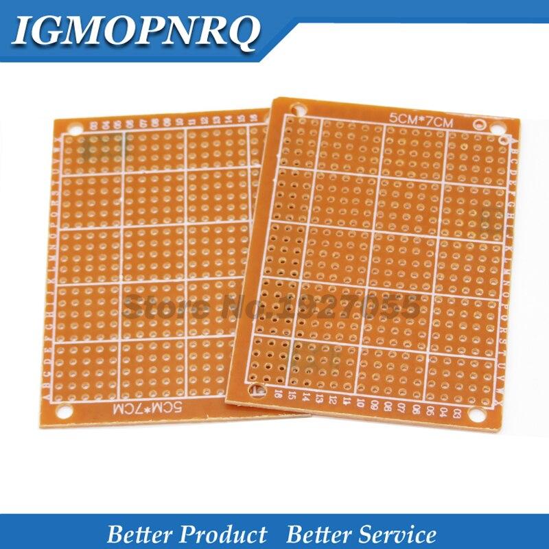 2 piezas 5x7cm nuevo prototipo de papel de cobre PCB Universal prueba matriz placa de circuito 5*7cm