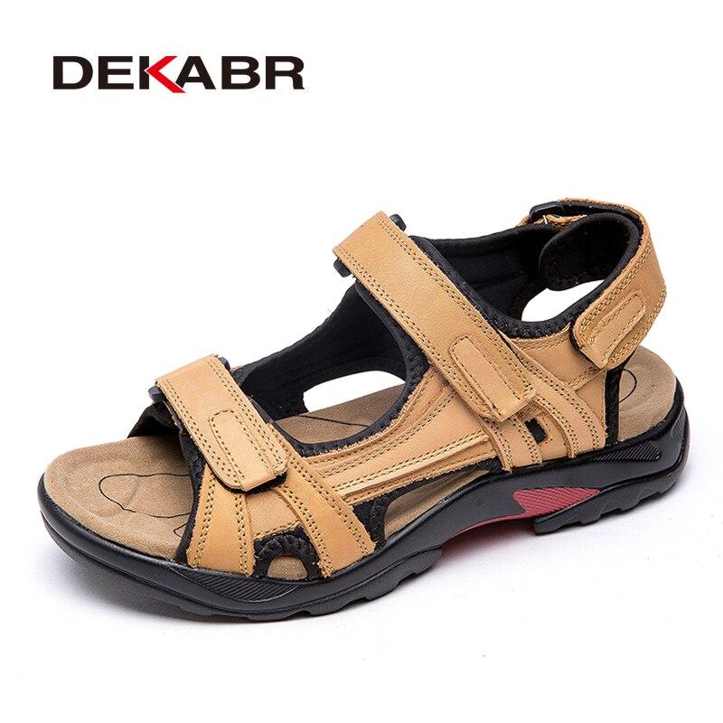 DEKABR-صندل من الجلد الطبيعي للرجال ، أحذية خارجية ، مقاس كبير 46 47 48 ، للصيف