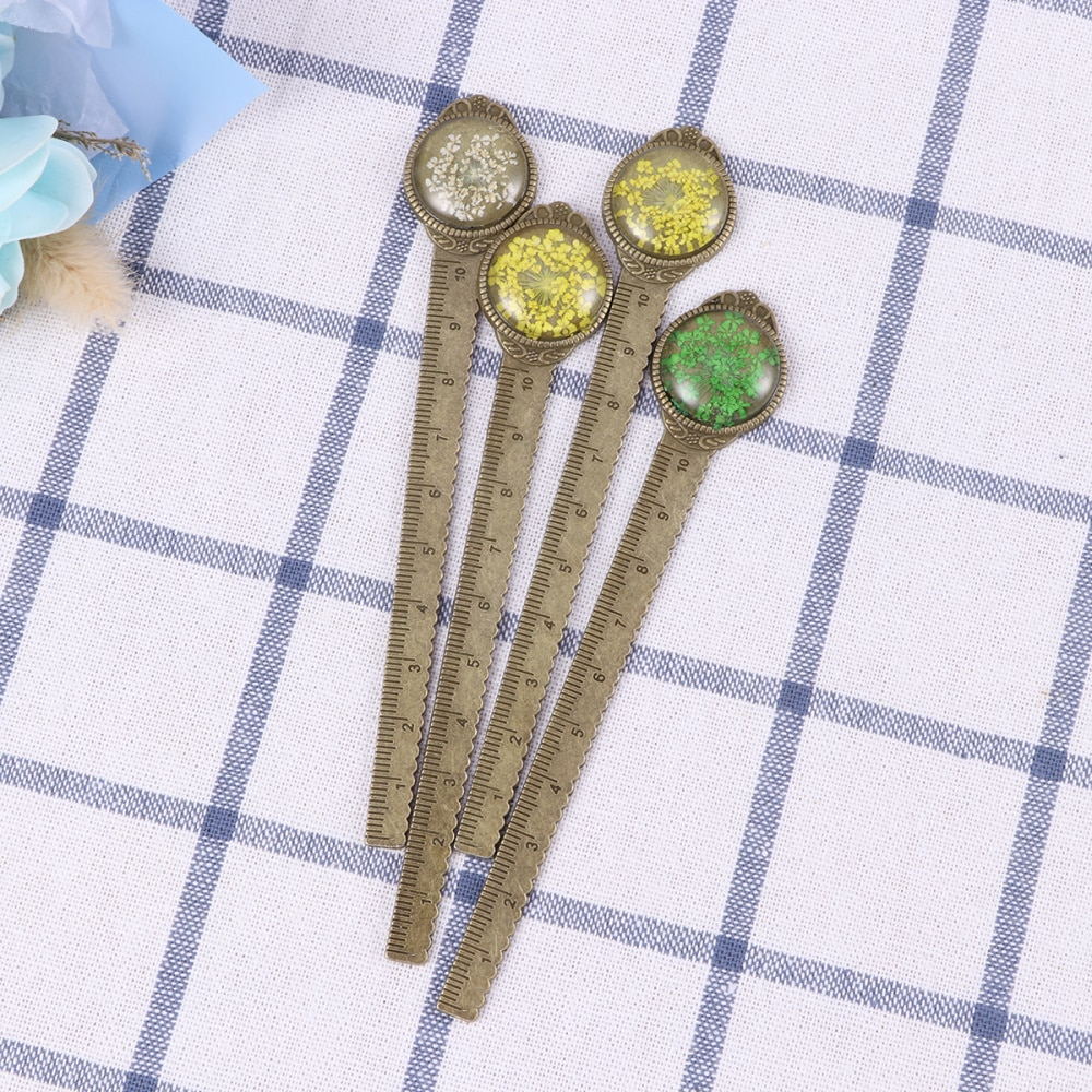 Creative Retro Vintage Small Dried Flowers Bronze Ruler with Glass Gems as Book Page Marker for Students Kids School Su