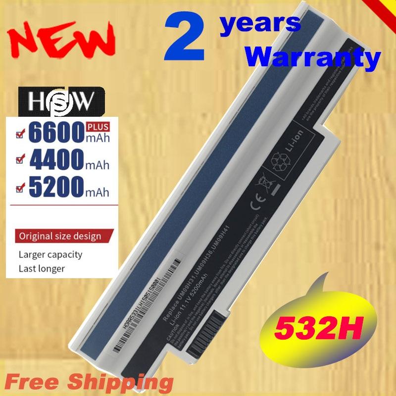 HSW Especial 6 celda para AcerAspire de 253H a 532h 532G AO532h para eMachines 350 UM09H31 UM09H41 UM09G31 UM09H75 eM350 envío rápido