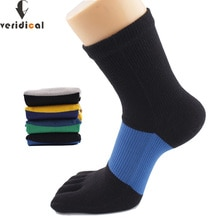 VERIDICALการบีบอัดถุงเท้าผ้าฝ้ายคุณภาพดีห้าถุงเท้านิ้วกีฬาMan Boy Big Stripe Meiasของขวัญสำหรับชาย