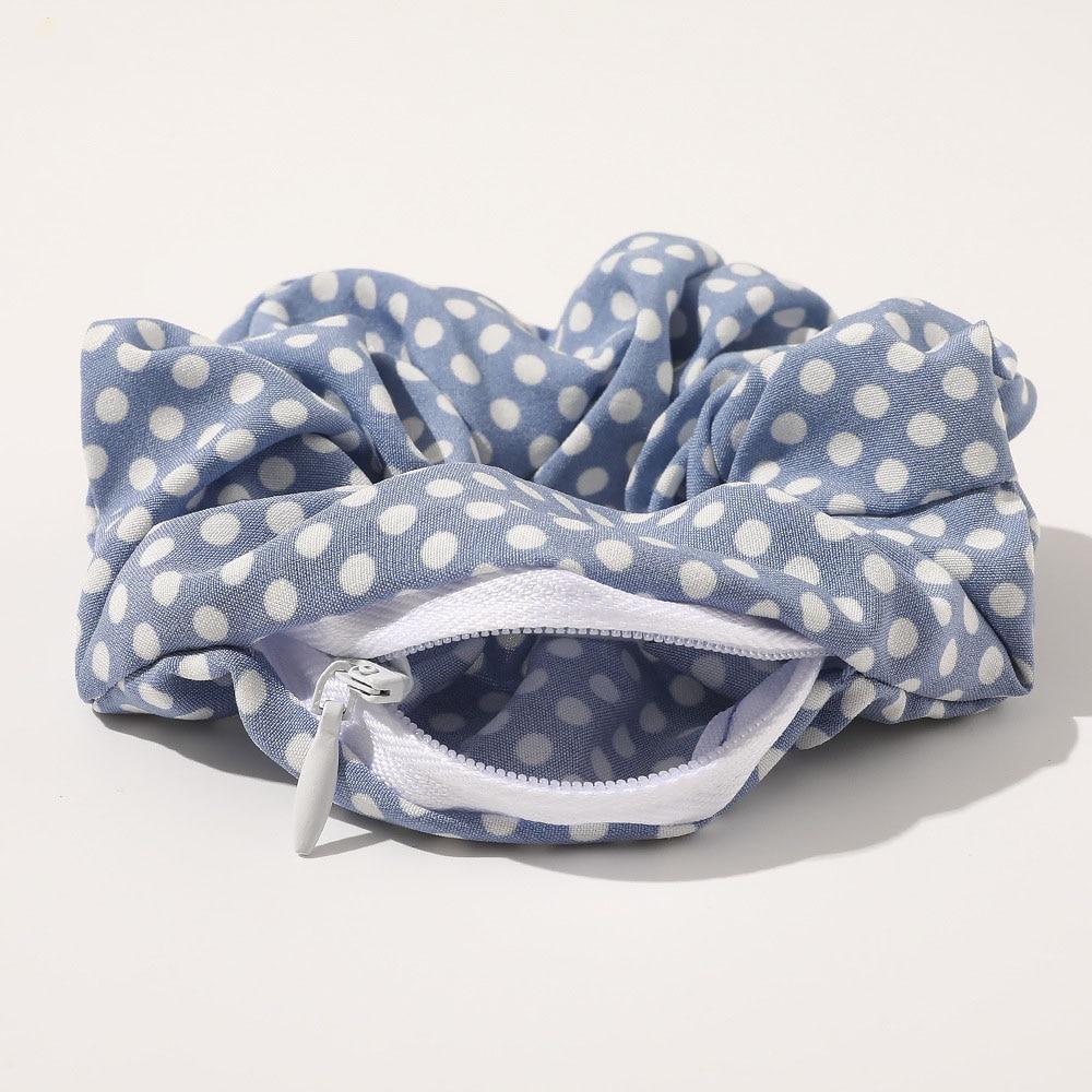 Women New Designs Hair Scrunchies With Pockets Hair Gums Striped Zip Rubber Bands For Hair Bun Zipper Schrunchy Vintage