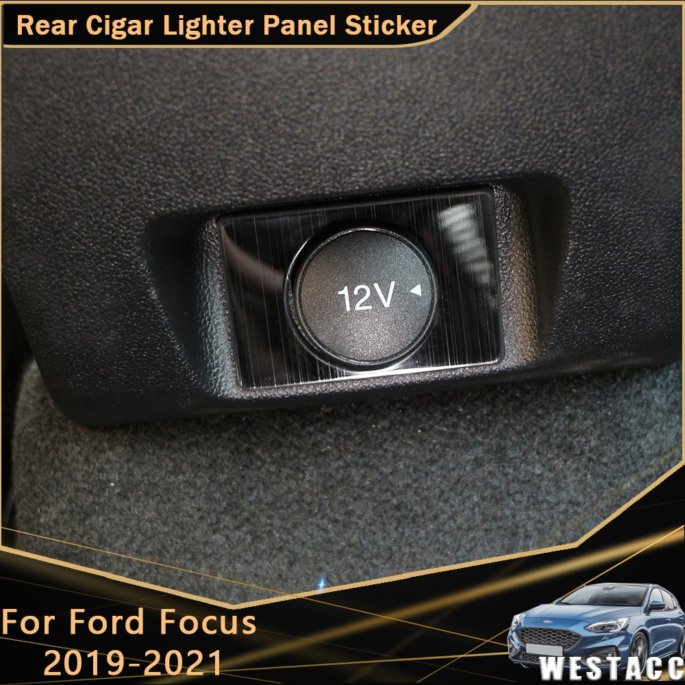 For Ford Focus MK4 2019 - 2021 Stainless Steel Car Rear Cigar Lighter Panel Sticker Decoration Cover