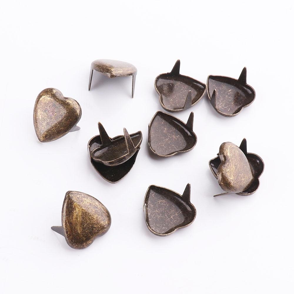 Garra de metal 10mm coração rebites artesanato de couro diy pregos pontos pontos nailhead rock punk vestuário costura decoração roupas
