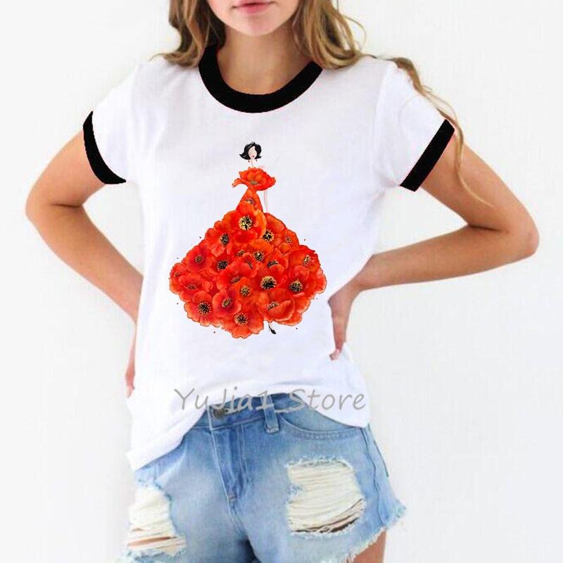 Camiseta de moda con estampado de amapolas para mujer, camiseta de moda con personalidad para mujer, ropa kawaii para mujer, ropa de calle de los años 90, camiseta harajuku