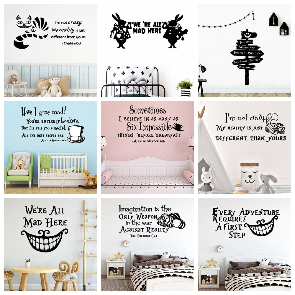 Cartoon Alice In Wonderland Vinyl Wall Sticker English Quote Wall Art Decor For Kids Rooms Babys Room Nursery Mural Poster