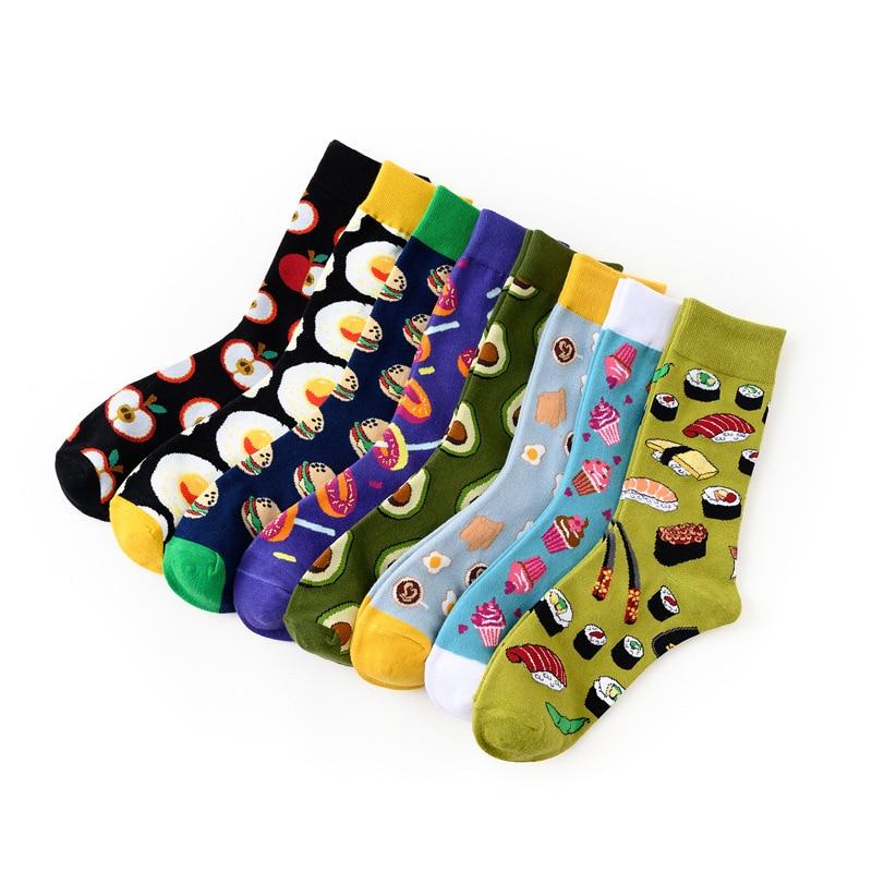 2020 new dessert food series creative pattern breathable middle tube cotton women's socks tide kawaii funny socks Absorb sweat