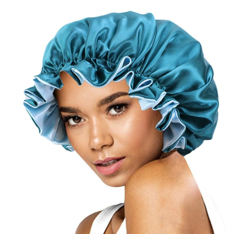 New Solid Women Satin Bonnet Fashion Stain Silky Big Bonnet for Lady Sleep Cap Headwrap Hat Hair Wra