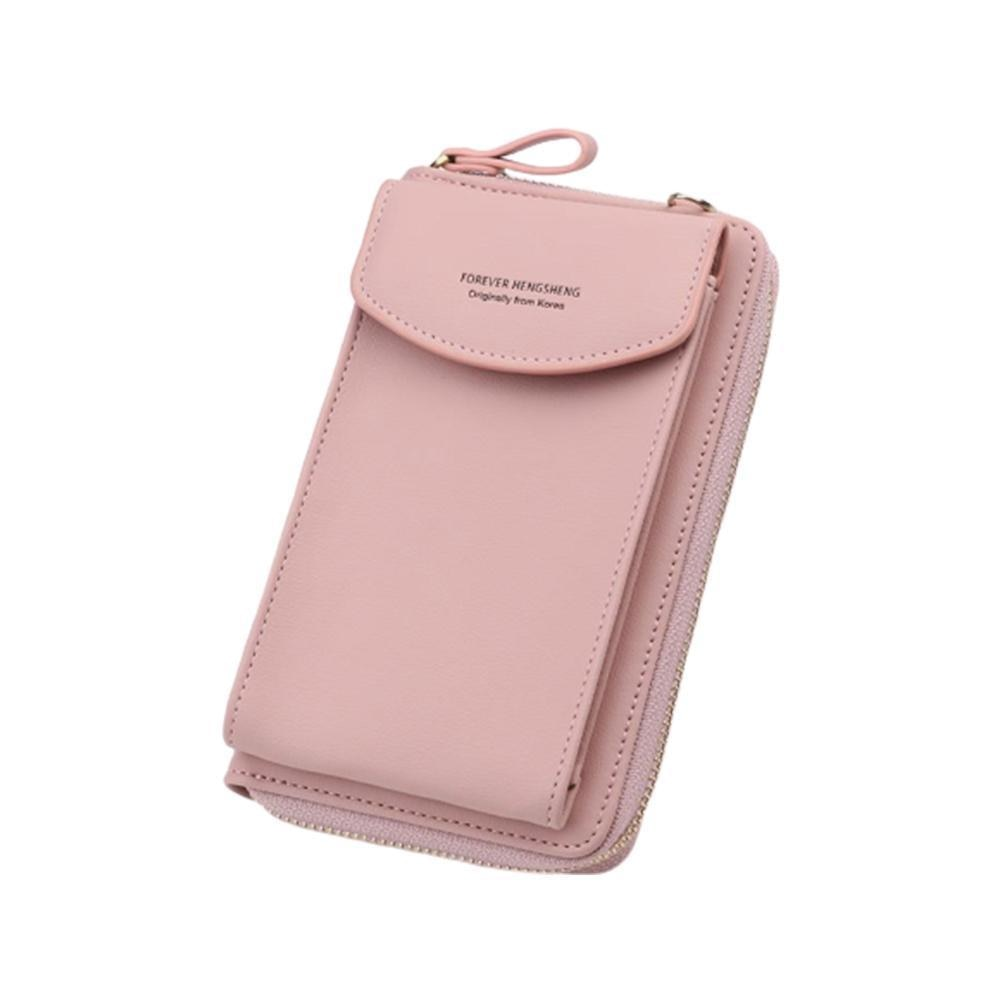 2020 mujeres billetera Color sólido correas de hombro de cuero teléfono Bolso grande cartera bolso de hombro tarjeta bolsillos móviles gir K5S9