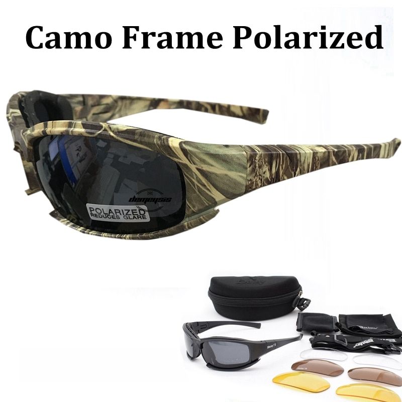 Tactical Camouflage Men's Polarized Glasses Military Shooting Hunting Goggles 4 Lens Kit Sunglasses