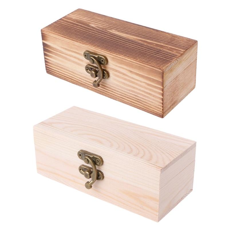 2020 Rectangle Wooden Hinged Box Jewellery Storage Case Crfats Sundries Organizer