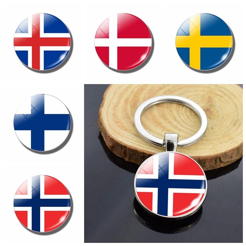 Bandera Nacional de los países nórdicos llaveros de la bandera de los países nórdicos colgante de llavero de cabujón de cristal de doble cara