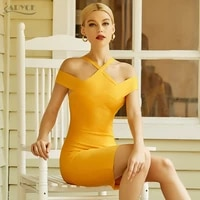 adyce new summer women off shoulder mini bandage dress sexy yellow bodycon club celebrity evening runway party lady dresses 2021