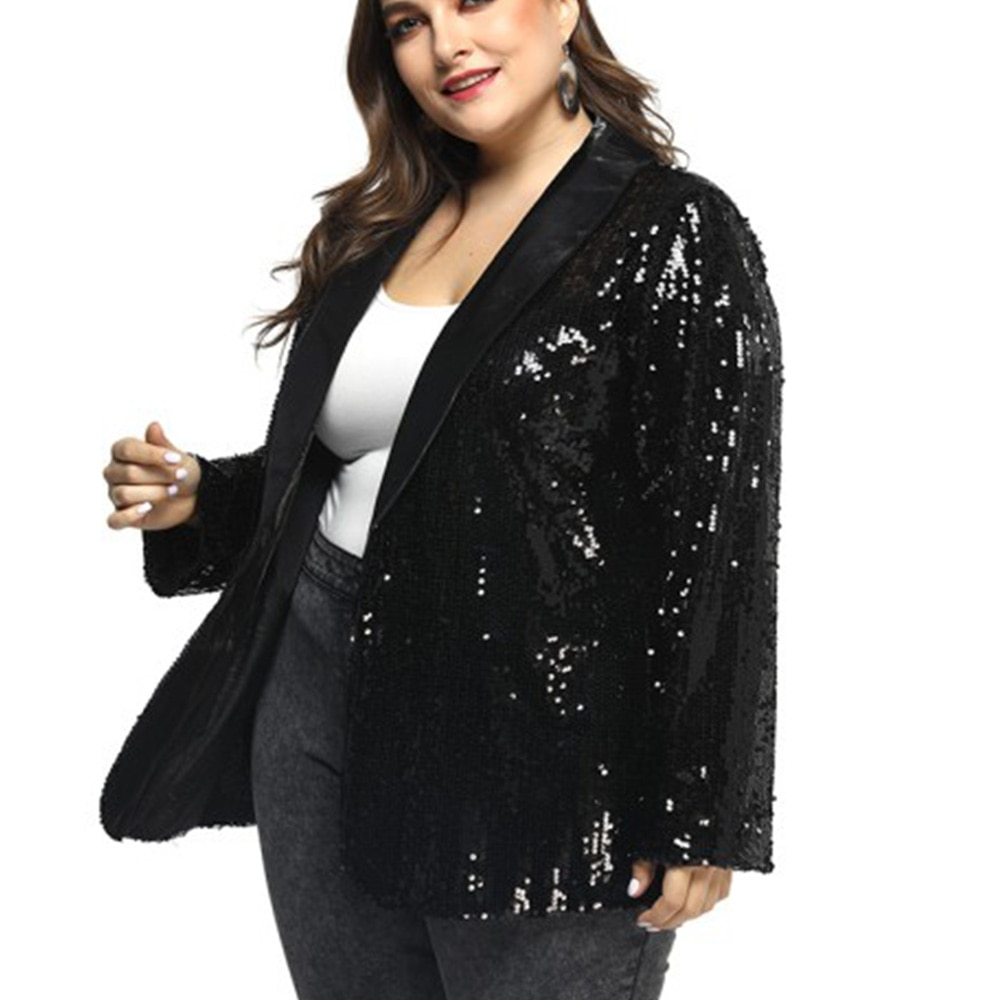 Bling Sequins Blazer Women Plus Size 5XL Coat Jacket Black Shiny Party Blazer V Neck Sexy Casual Blazer Streetwear Cardigan D40