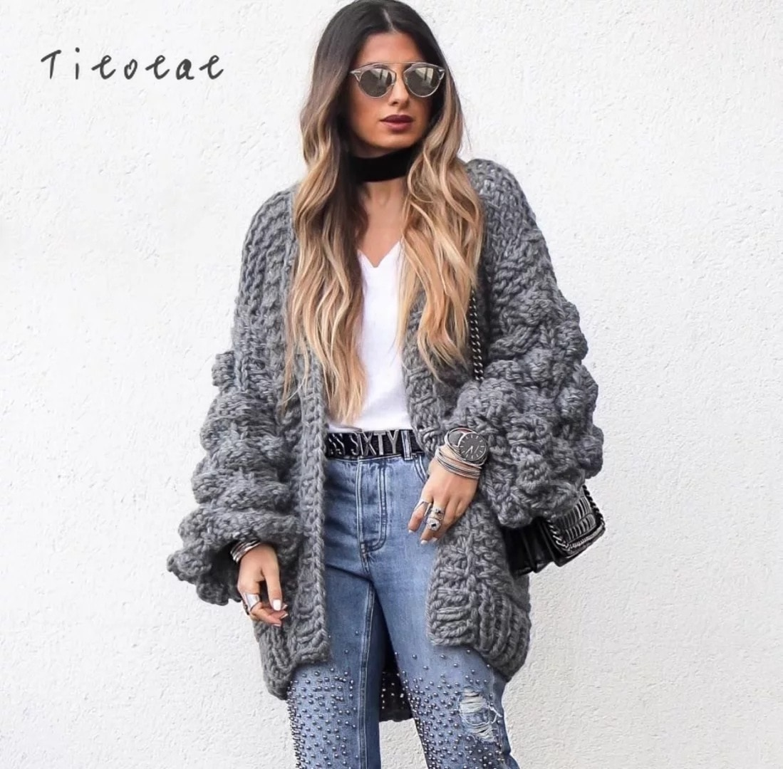 2021 Promotion Full Standard Solid Pull Great Cardigan Women Weave Coarse Needle Fall Winter New Europe Black Sweater Pink Knit enlarge