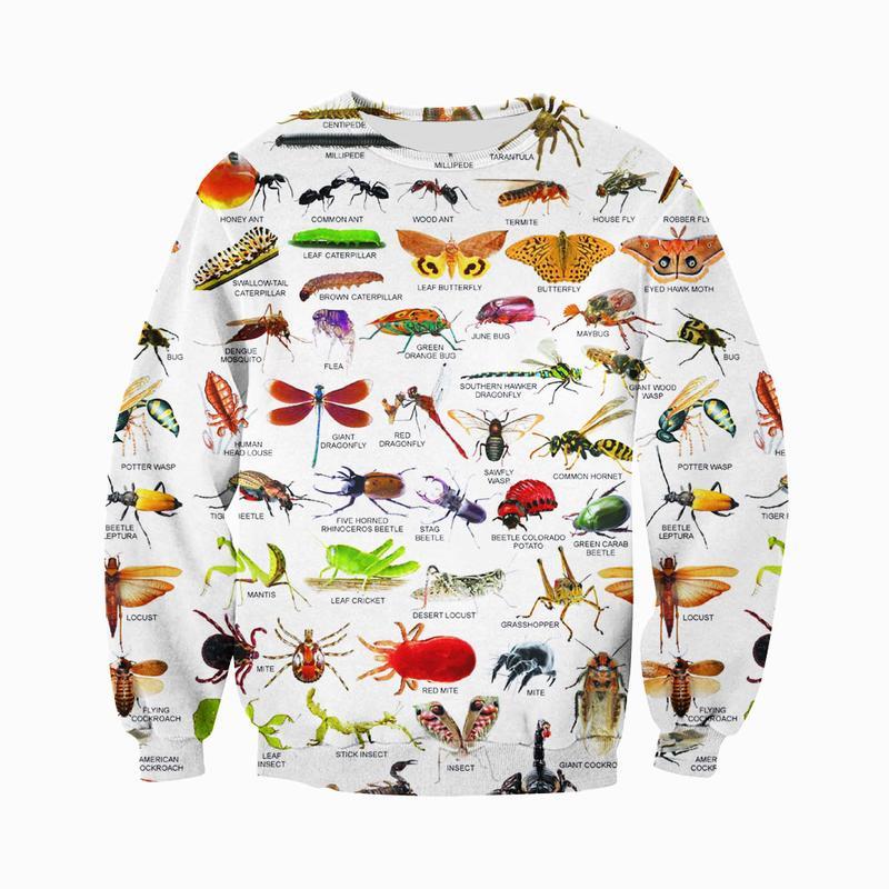 3D печати насекомых одежда мужская и женская мода Повседневный Спортивный костюм с длинным рукавом, толстовка с застежкой-молнией толстовка...