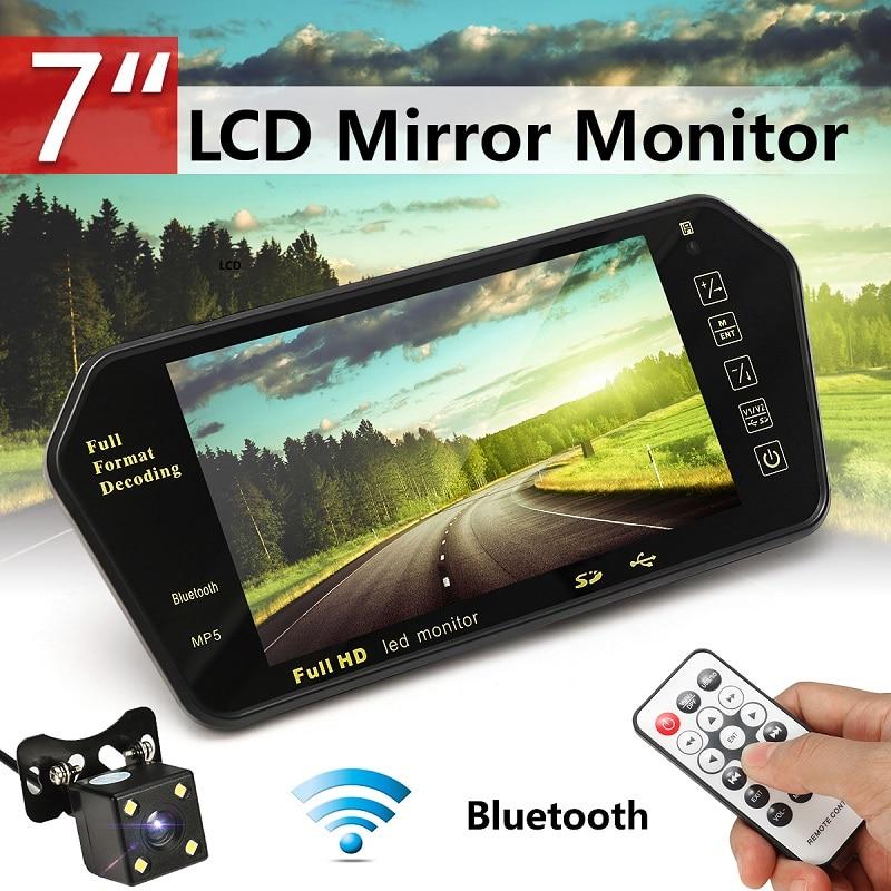 Автомобильный 7-дюймовый светодиодный дисплей заднего вида, bluetooth, светодиодный светильник, ночное видение, зеркало заднего вида, монитор но...