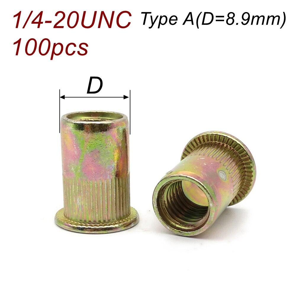 1/4-20UNC 100 unids/lote, tuerca de inserción de tuerca de remache de rosca de pulgada estándar americana, remache de cabeza plana de acero al carbono, tuerca chapada en Zinc amarilla