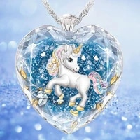 2021 summer new crystal glass glittering pendant necklaces for women fashionable and elegant women unicorn pendant necklace