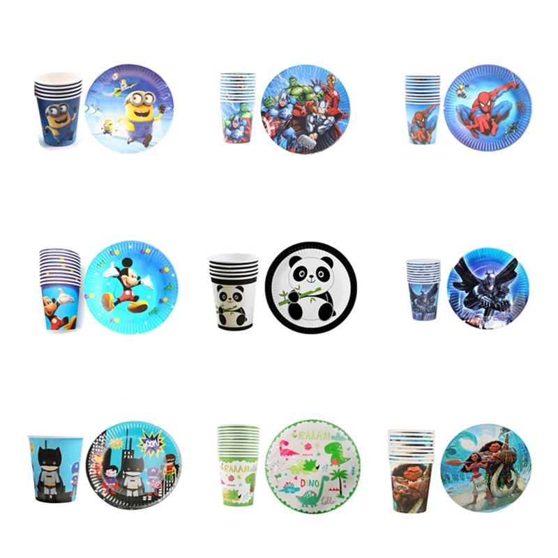20 stücke Geburtstag Party Versorgung Papier Platte/Tasse Set Cartoon Avengers Einhorn Mickey Minnie Einweg Glas/Dish Hochzeit dekoration