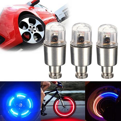 2Pcs LED Bike Wheel Tire Dust Cap Bicycle Car Motor Wheel Tire Caps Wheel Lights Bulbs Cycling Flash Lights