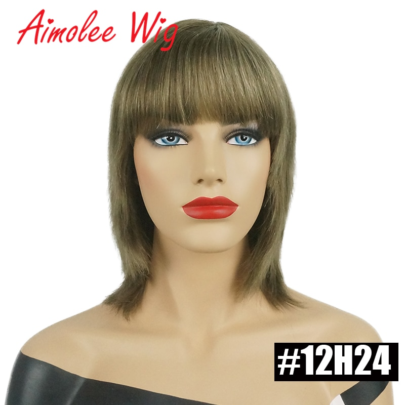 12inch Short Straight Black Brown Blonde Human Hair Blend Wig Machine Made For Ladies Natural 9 Colors Synthetic Women's Wigs