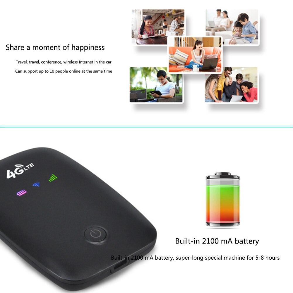 4G Dongle Sem Fio Bateria Recarregável Portátil Roteador Wifi Sim Slot Bolso Carro Móvel Ao Ar Livre Viagem de Alta Velocidade do Modem Hotspot