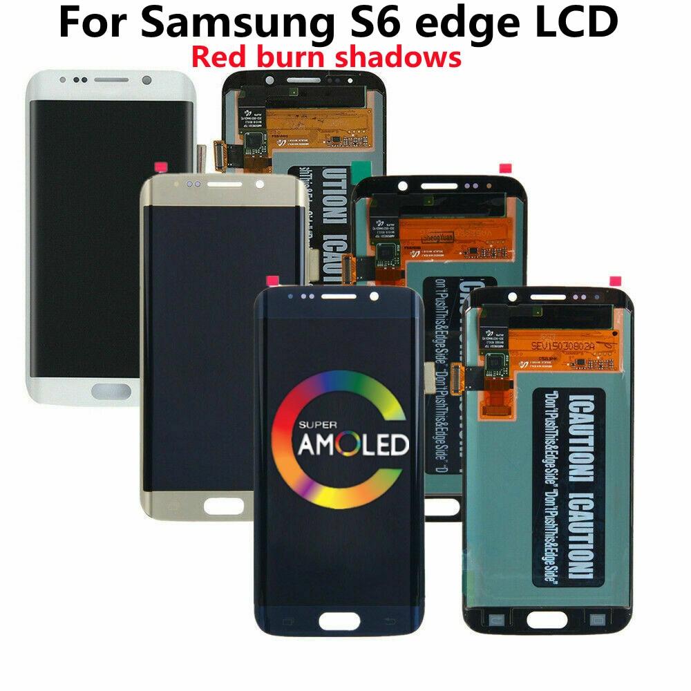 الأصلي لسامسونج غالاكسي S6 حافة LCD سوبر Amoled G925A G925U G925F شاشة تعمل باللمس الجمعية حرق أحمر