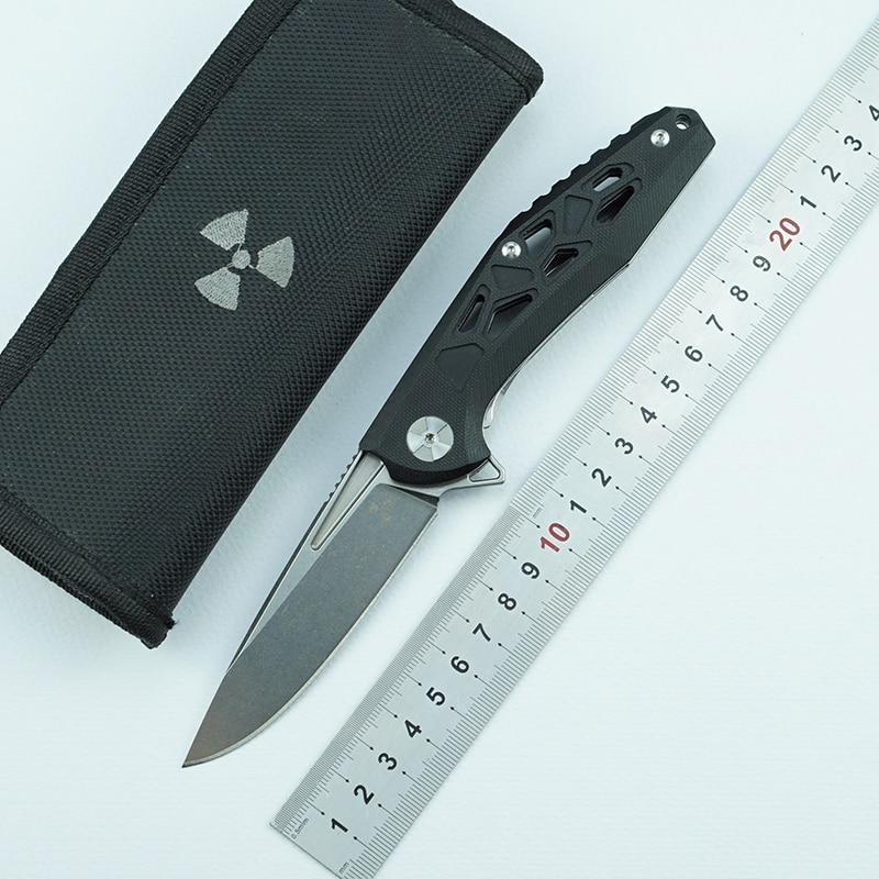 LEMIFSHE JK3214G10 cuchillo plegable abatible rodamiento de bolas D2 hoja G10 mango exterior camping herramienta básicos de caza multiusos