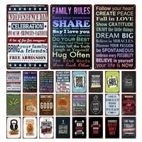 Regles de la famille maison amour doux Shabby Chic etain signes Vintage plaques de metal Art mural maison salle de sport decor 30X20Cm