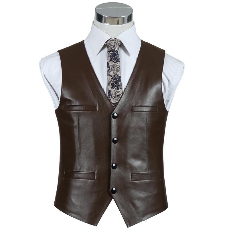 Vest Genuine Leather For Men Brown Black Real Sheepskin Slim Fit Fashion Men's Waistcoat Vests Top Motorcycle Clothes Plus Size