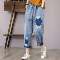 vintage fish embroidery women jeans high waist female haren pants thin oversized denim trousers