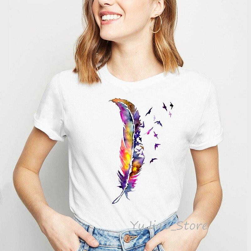 Pluma de acuarela estampado de pájaros kawaii, camiseta para mujer, verano, top blanco, camiseta, ropa de tumblr streetwear, drop shipping