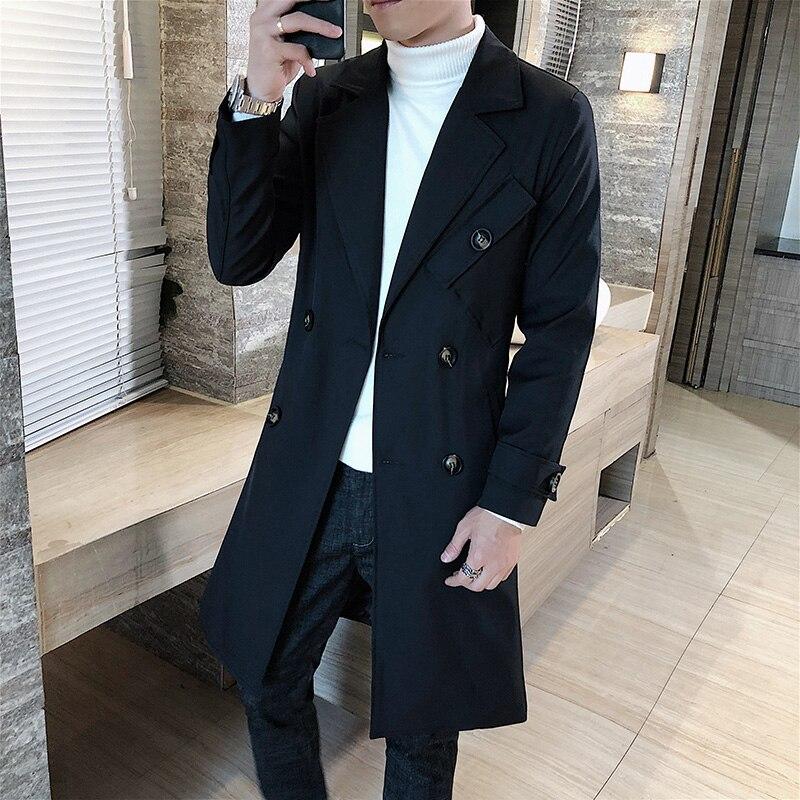 الرجال ترينشكوت النمط البريطاني مزدوجة الصدر التلبيب طوق طويل سليم أبلى جديد الرجال الموضة الصلبة الأعمال سترة واقية غير رسمية