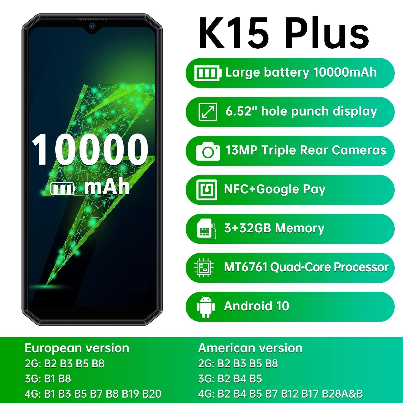 OUKITEL K15 Plus هاتف ذكي 6.52 ''3GB + 32GB رباعية النواة أندرويد 10.0 الهاتف المحمول 10000mAh 13MP كاميرات ثلاثية NFC هاتف محمول