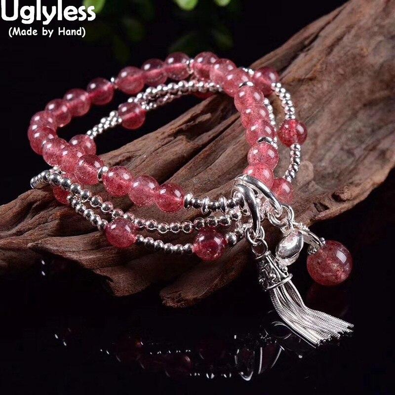 Uglyless Réglable Élastique Corde Bracelets pour femme 3 Couches Fraise Quartz Bracelets 925 Boules dargent Perles Bijoux BR312