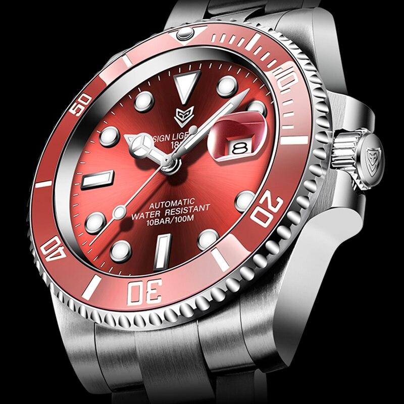 2021 Red Men Watches Top Brand Luxury Sapphire Watch Waterproof Automatic Mechanical Watch Mens Fashion Sport 316L Steel Clock